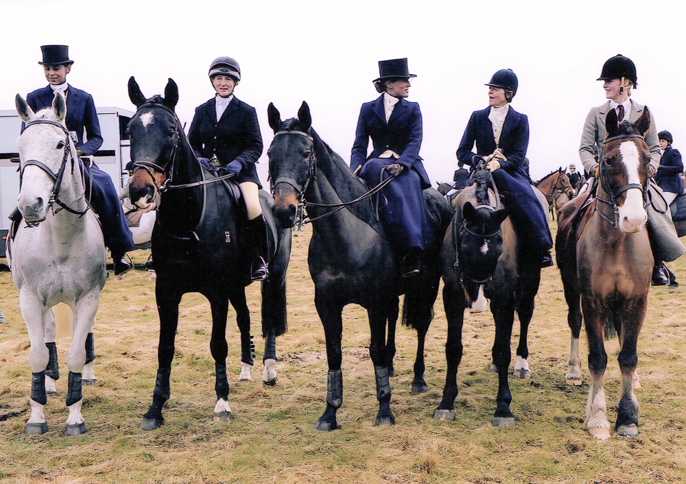 Hunting with the RA at Larkhill (L-R: Olivia Sims, Lucinda Sims, Flora Watkins, Mrs Tricia Badham, Mrs Tommie Gross)