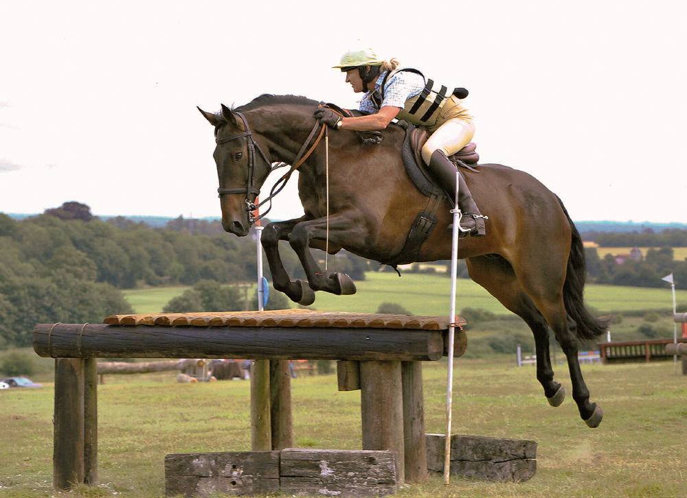 Lucinda Green and O The Bill at the first Harroway jumping derby, 2009
